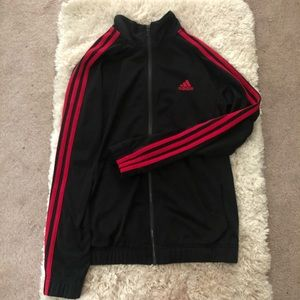 Adidas black and pink size M track jacket